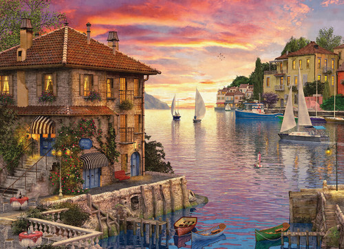 Mediterranean Harbor by Dominic Davison - 1000pc Jigsaw Puzzle by Eurographics