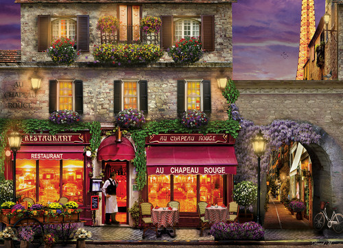 The Red Hat Restaurant Paris by David Mc Lean - 1000pc Jigsaw Puzzle by Eurographics