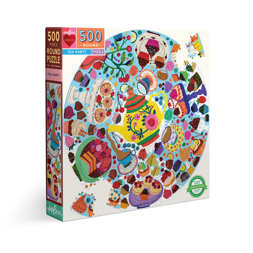Tea Party - 500pc Round Jigsaw Puzzle by eeBoo
