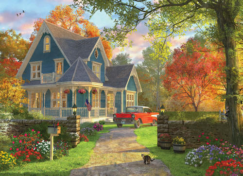 The Blue Country House by Dominic Davison - 1000pc Jigsaw Puzzle by Eurographics