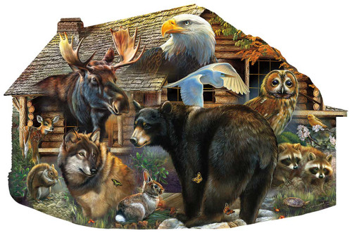 Wildlife Cabin - 1000pc Shaped Jigsaw Puzzle By Sunsout
