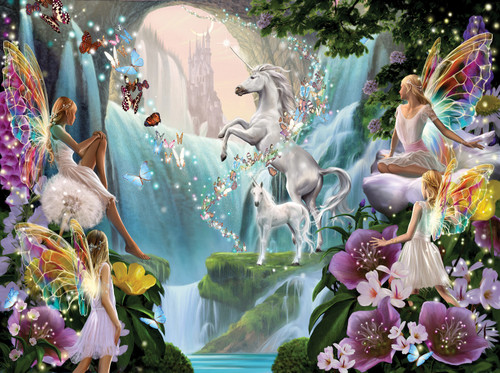 Unicorn and Fairy - 1000pc Jigsaw Puzzle By Sunsout