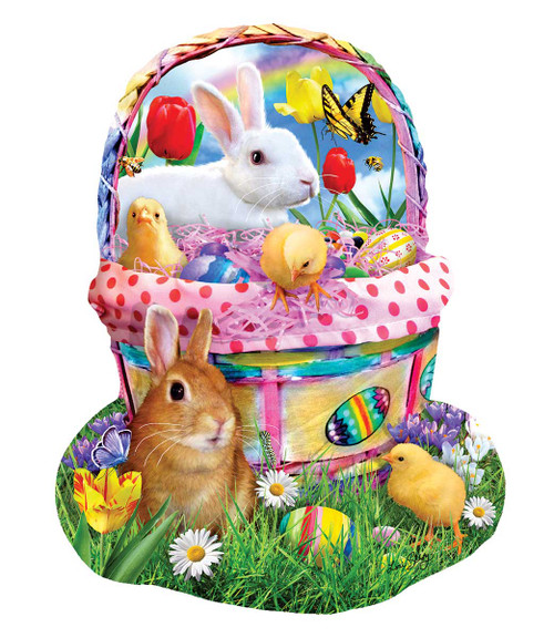 Bunny's Easter Basket - 1000pc Shaped Jigsaw Puzzle By Sunsout