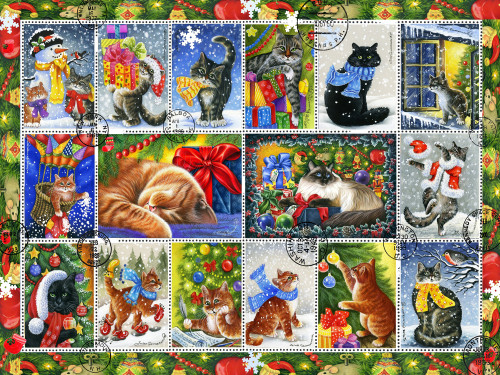Christmas Cat Stamps - 550pc Jigsaw Puzzle by Vermont Christmas Company