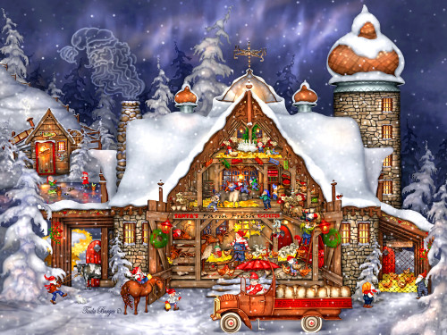 Santa's Barn - 550pc Jigsaw Puzzle by Vermont Christmas Company