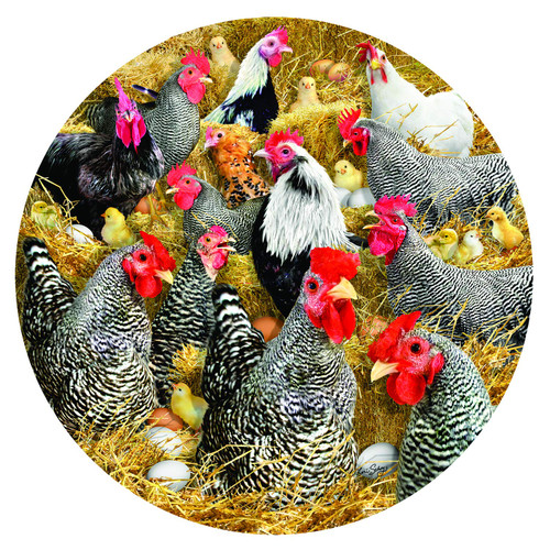 Chickens and Chicks - 1000pc Round Jigsaw Puzzle By Sunsout