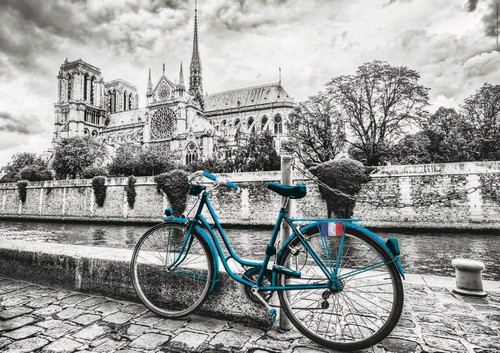 Bike near Notre Dame - 500pc Colored Black & White Jigsaw Puzzle by Educa