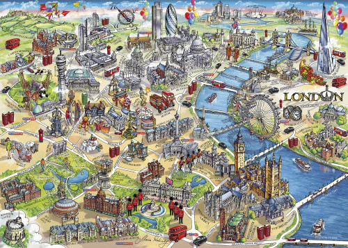 London Landmarks - 1000pc Jigsaw Puzzle by Gibson
