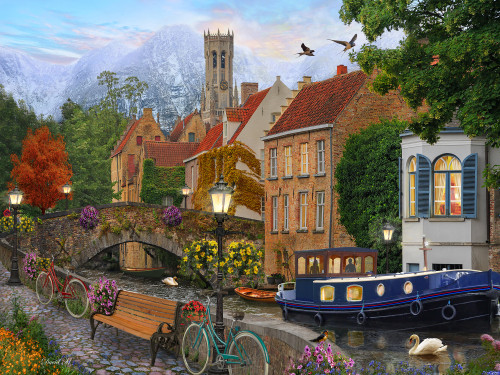 Canal Living - 550pc Jigsaw Puzzle by Vermont Christmas Company