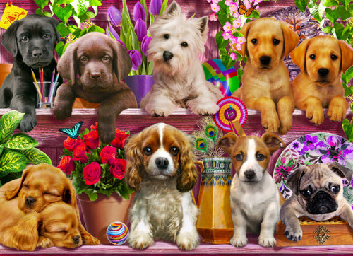 Puppies Galore - 1000pc Jigsaw Puzzle by Vermont Christmas Company