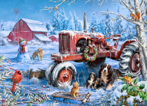 Christmas on the Farm - 1000pc Jigsaw Puzzle by Vermont Christmas Company
