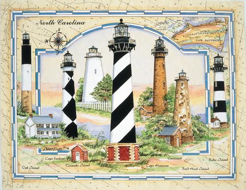 North Carolina Coastal Lights / Elias - 1000pc Jigsaw Puzzle by Heritage Puzzle