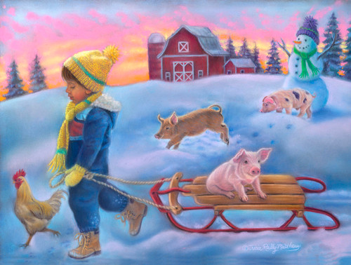 Snow Day on the Farm - 300pc Jigsaw Puzzle By Sunsout