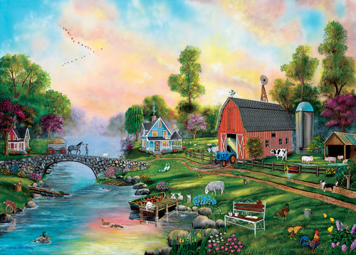 Bridge to the Farm - 500+pc Large Format Jigsaw Puzzle By Sunsout