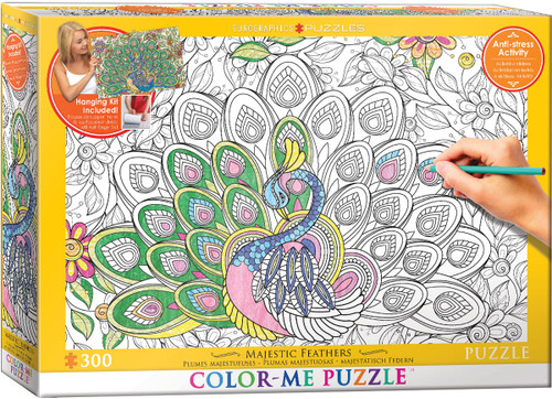 Color Me Puzzle: Majestic Feathers - 300pc Color Yourself Jigsaw Puzzle by Eurographics