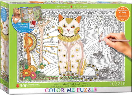 Color Me Puzzle: Magic Cat - 500pc Color Yourself Jigsaw Puzzle by Eurographics