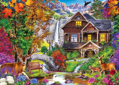 Hidden Falls Cottage Retreat - 1000pc Jigsaw Puzzle by Masterpieces