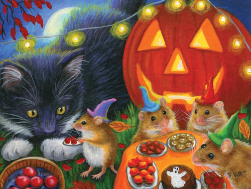 Whiskers' Halloween Eve - 300pc Large Format Jigsaw Puzzle By Sunsout