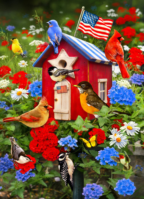 Patriotic Birdhouse - 1000pc Jigsaw Puzzle by Vermont Christmas Company