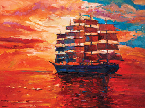Sunset Sailing Ship - 1000pc Jigsaw Puzzle By Serious Puzzles