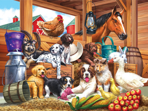 Barnyard Puppy - 300pc Large Format Jigsaw Puzzle by Cra-Z-Art