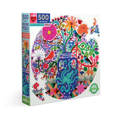 Birds and Flowers - 500pc Round Jigsaw Puzzle by eeBoo