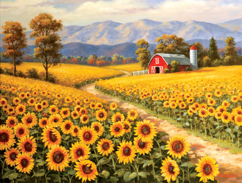 Red River Sunflower Farm - 300pc Large Format Jigsaw Puzzle By Sunsout