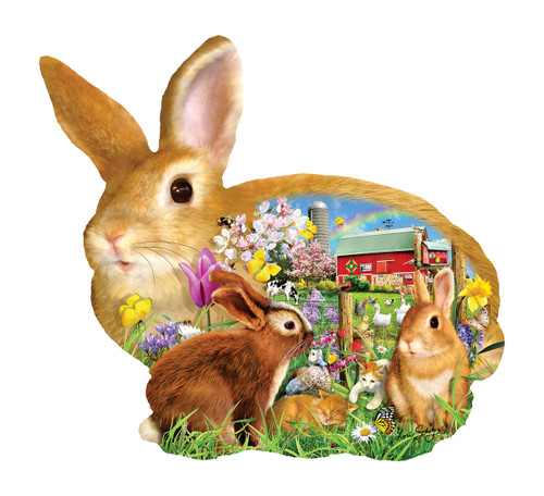 Springtime Bunnies - 1000pc Shaped Jigsaw Puzzle By Sunsout