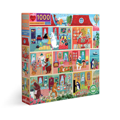 Koala House Party - 1000pc Square Jigsaw Puzzle by eeBoo