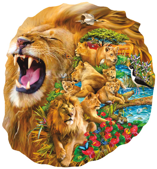 Lion Family - 1000pc Shaped Jigsaw Puzzle By Sunsout