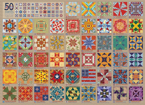 50 States Quilt Blocks - 1000pc Jigsaw Puzzle By Cobble Hill
