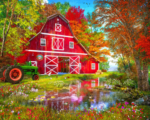 Autumn at the Old Barn - 1000pc Jigsaw Puzzle by Vermont Christmas Company