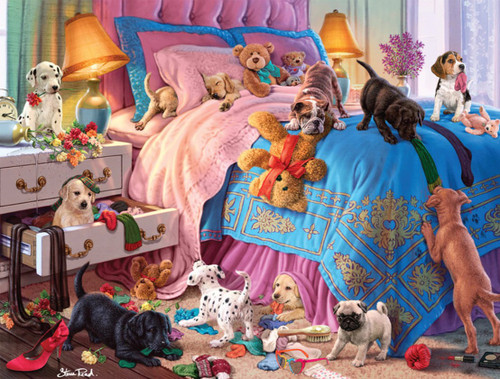Dog Days: A Roomful of Naughty Puppies - 750pc Jigsaw Puzzle by Buffalo Games