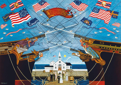 Charles Wysocki: Dockside Marriage - 500pc Jigsaw Puzzle by Buffalo Games