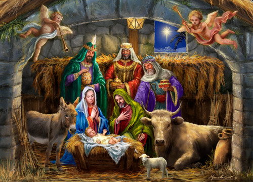 In the Manger - 1000pc Jigsaw Puzzle by Vermont Christmas Company