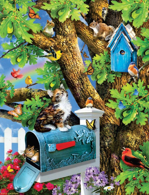 Kitty and Birdhouse - 1000pc Jigsaw Puzzle By Sunsout