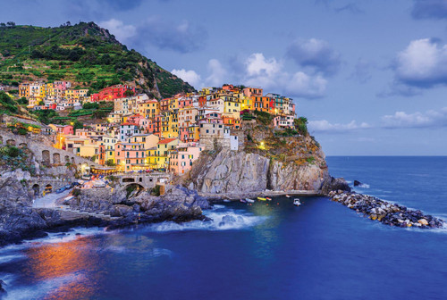 Manarola Village at Twilight in Italy - 500pc Large Format Jigsaw Puzzle By Tomax