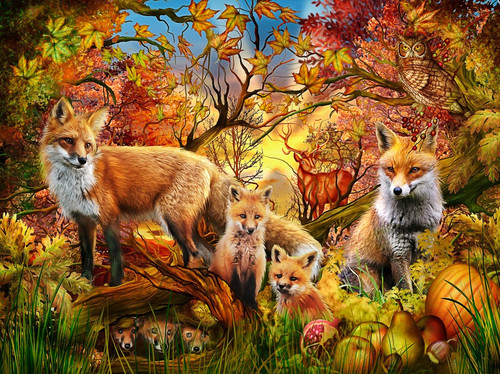Autumn Foxes - 550pc Jigsaw Puzzle by Vermont Christmas Company