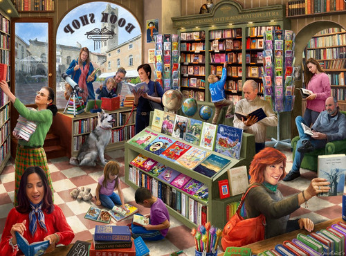 Book Shop - 550pc Jigsaw Puzzle by Vermont Christmas Company