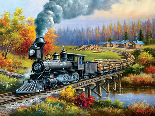Logging Camp Run - 300pc Large Format Jigsaw Puzzle By Sunsout