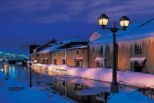 Otaru Canal at Night, Japan - 1000pc Jigsaw Puzzle by Tomax