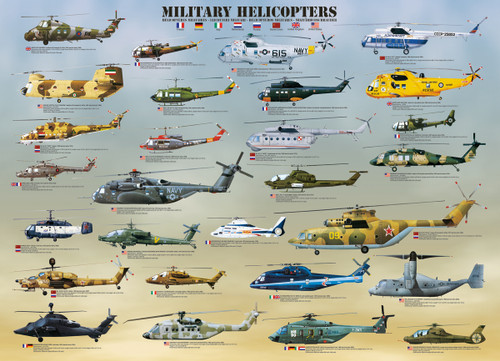 Military Helicopters - 500pc Jigsaw Puzzle by Eurographics