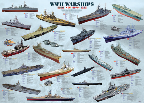 WWII War Ships - 500pc Jigsaw Puzzle by EuroGraphics