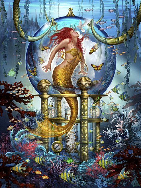 Blue Mermaid Holographic - 1000pc Jigsaw Puzzle by Lafayette Puzzle Factory