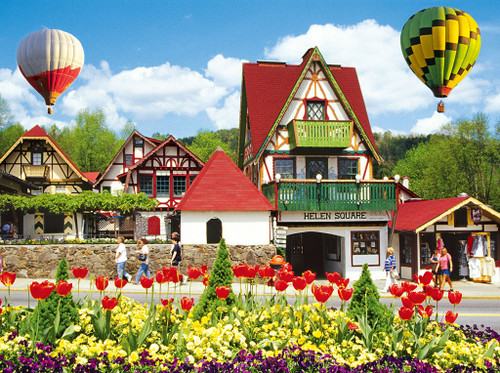 Hot Air Balloons Over Helena - Colorluxe  - 1500pc Jigsaw Puzzle by Lafayette Puzzle Factory