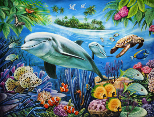 Dolphin Lagoon - 1000pc Jigsaw Puzzle by Lafayette Puzzle Factory