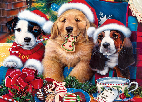 Santa Paws - 500pc Glitter Jigsaw Puzzle by Masterpieces