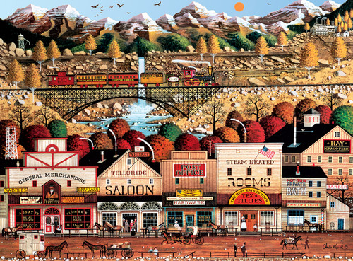 Charles Wysocki: Sleepy Town West - 1000pc Jigsaw Puzzle by Buffalo Games (discon-21577)