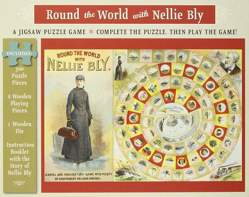 Round the World with Nellie Bly - 300pc Jigsaw Puzzle & Game by Pomegranate