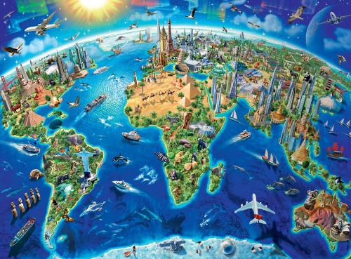 World Landmarks Map - 300pc Jigsaw Puzzle by Ravensburger